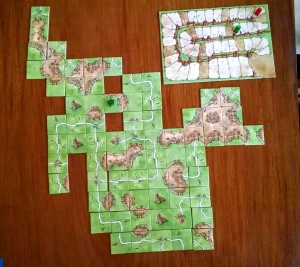 Teaching my niece Issa how to play Carcassonne (I won by adding a farmer to a really large farm she was making)