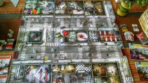 Izzy and I escaping by the skin of our teeth in Zombicide (although the photo was taken halfway through the game)
