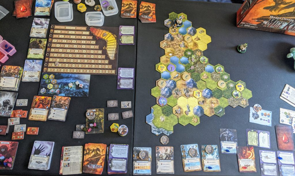 Mage Knight board game, with tiles, cards, and monster tokens